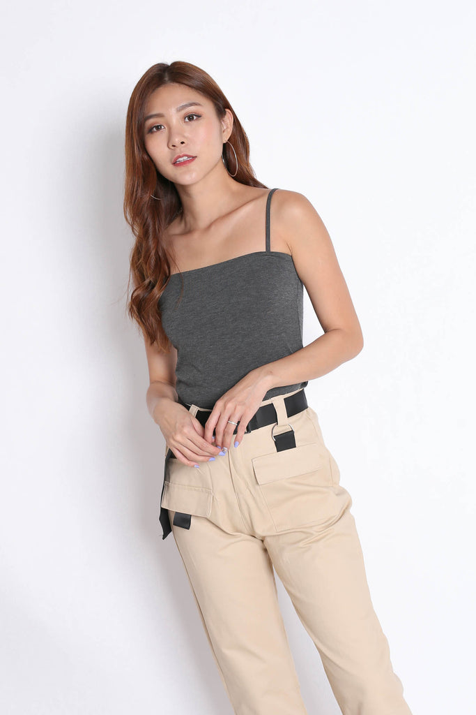 BASIC SPAG SQUARE TOP IN DARK GREY - TOPAZETTE