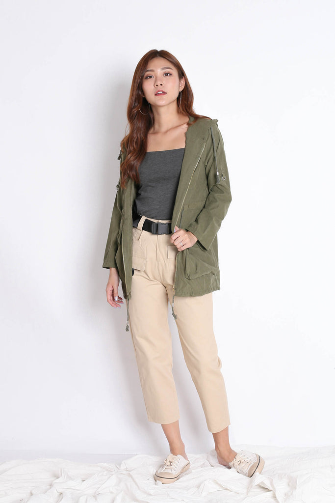 TAL PARKA WITH HOOD IN ARMY GREEN - TOPAZETTE