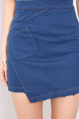 (RESTOCKED) OUTLINED ASYMMETRICAL SKIRT IN CLASSIC BLUE - TOPAZETTE