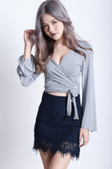 (RESTOCKED) WRAP AROUND BELL SLEEVES TOP IN GREY - TOPAZETTE