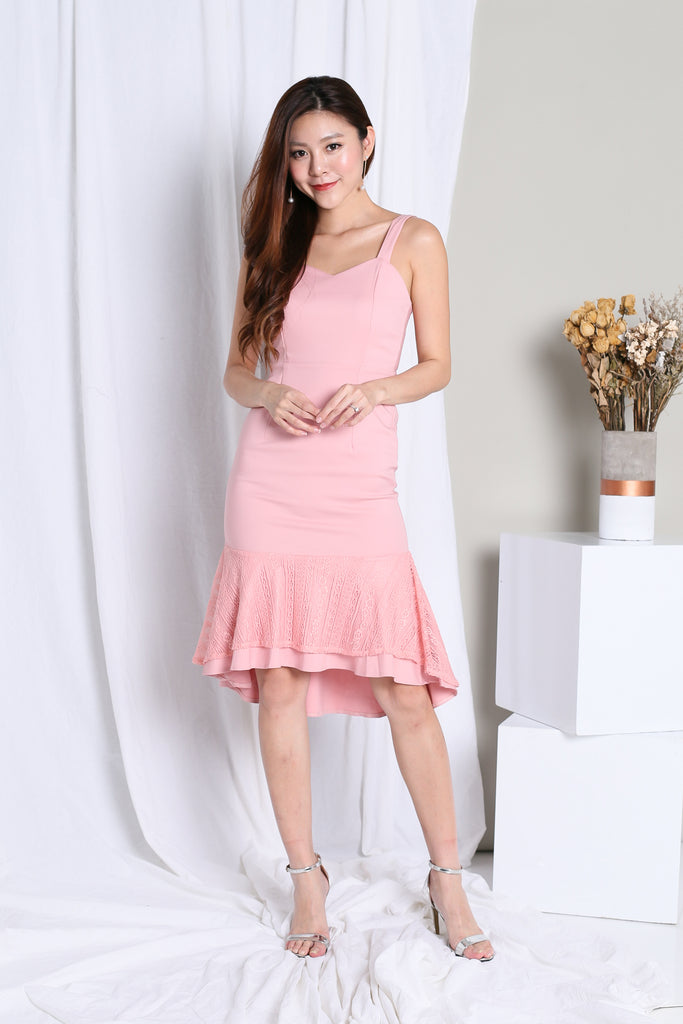 *TOPAZ* (PREMIUM) FREYA MERMAID LACE DROPHEM DRESS IN PINK - TOPAZETTE