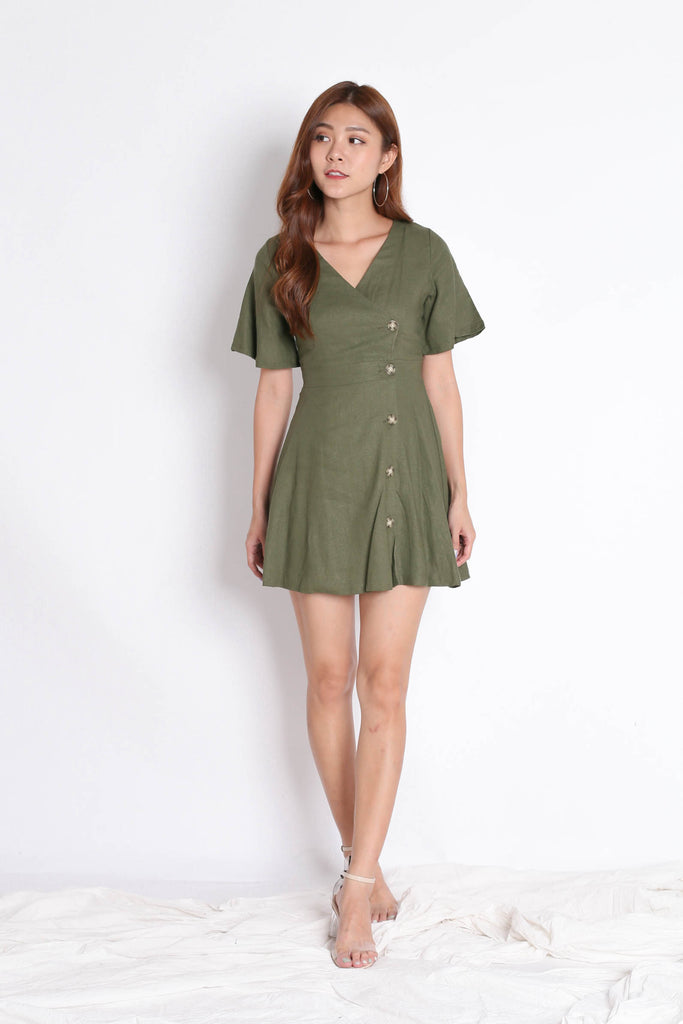 *TPZ* (PREMIUM) HEIDY LINEN DRESS IN ARMY GREEN