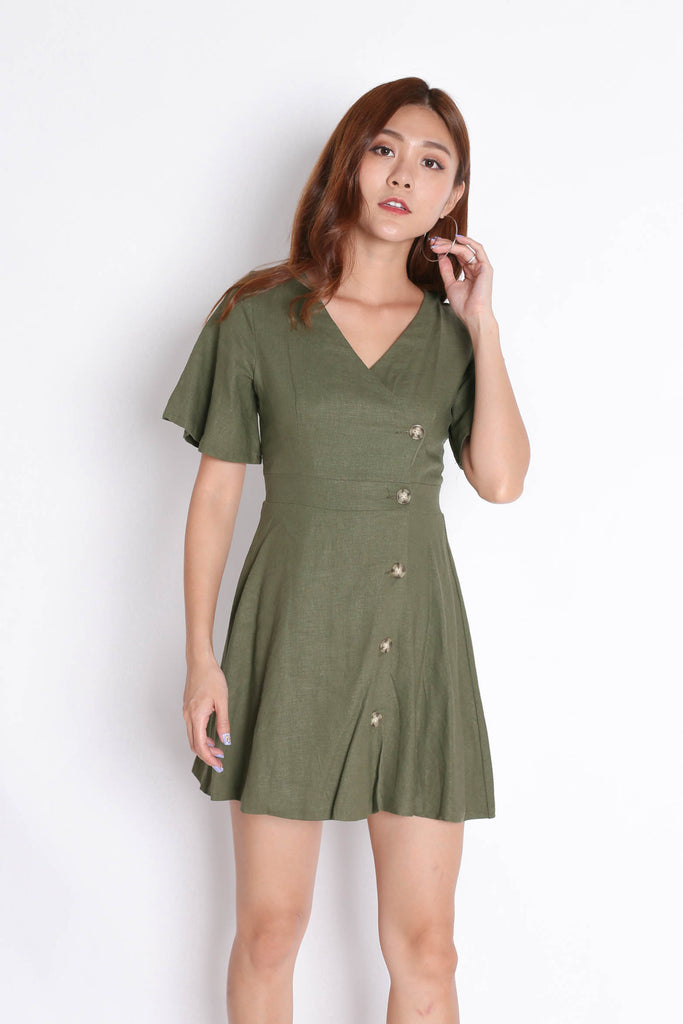 *TPZ* (PREMIUM) HEIDY LINEN DRESS IN ARMY GREEN - TOPAZETTE