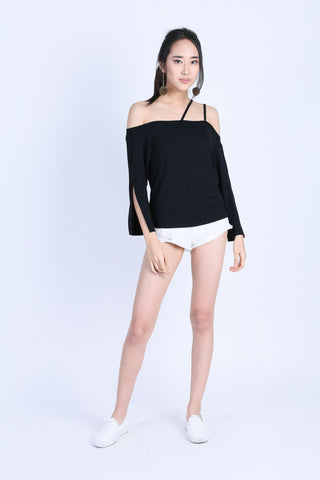 *BACKORDER* TINLEY DOUBLE STRAPS TOGA TOP IN BLACK