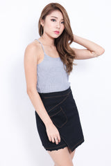 BERLIZE KNIT TOP IN GREY - TOPAZETTE