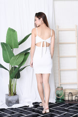 BASIC RIBBON BACK DRESS IN WHITE