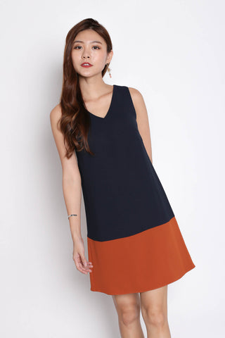*TPZ* (PREMIUM) DREA REVERSIBLE DRESS (RUST/ NAVY)