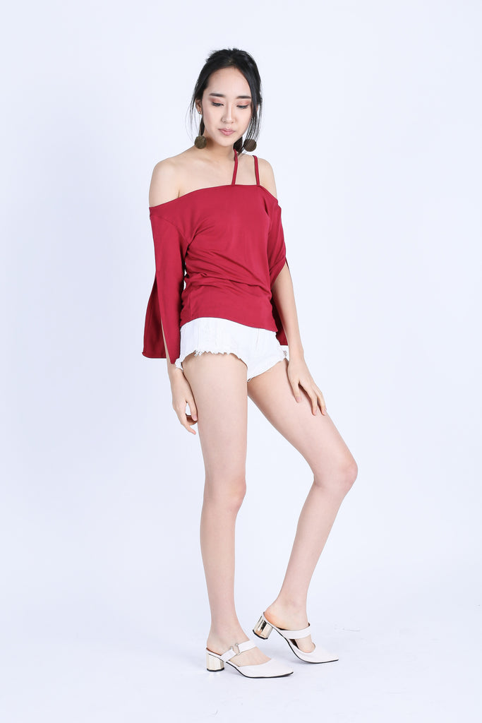 TINLEY DOUBLE STRAPS TOGA TOP IN WINE - TOPAZETTE