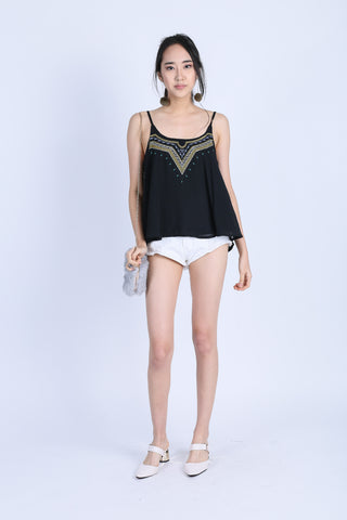 SAVEA BOHO SPAG TOP IN BLACK