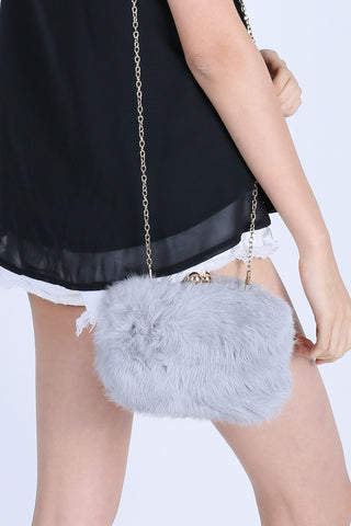 FLUFFY FAUX FUR BAG IN GREY