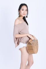 TINLEY DOUBLE STRAPS TOGA TOP IN TAUPE