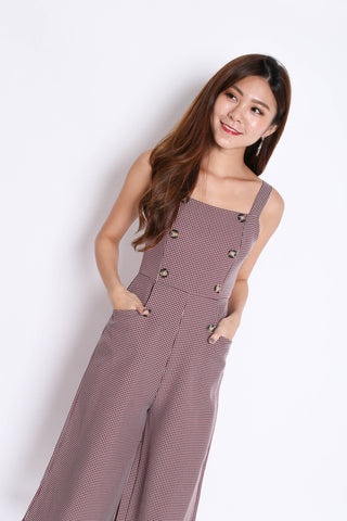 (PREMIUM) ULLA BUTTON GINGHAM CULOTTES JUMPSUIT IN RUST