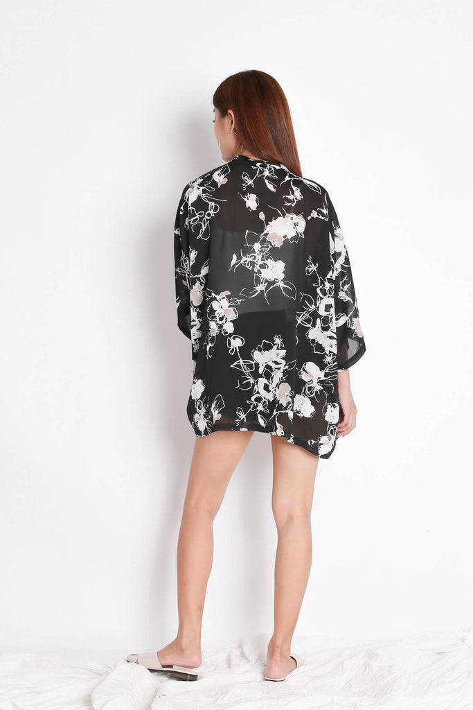*TPZ* TIA ABSTRACT KIMONO JACKET IN BLACK