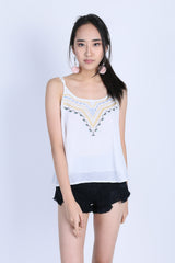SAVEA BOHO SPAG TOP IN WHITE