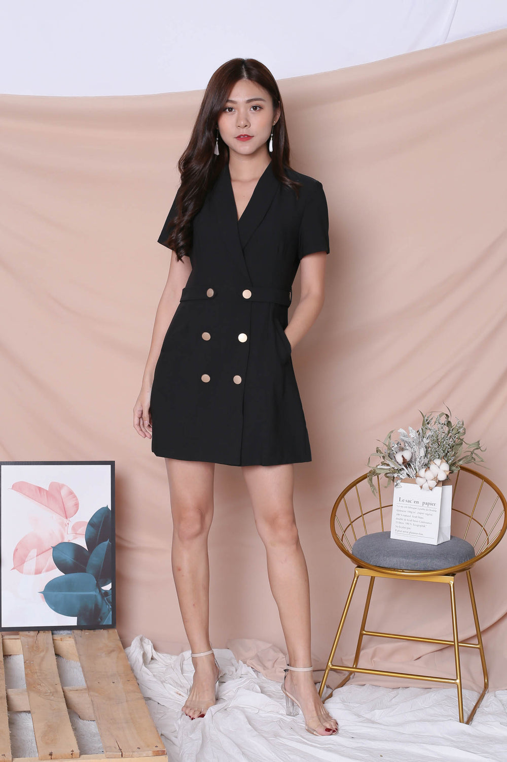 (BACKORDER) *TPZ* (PREMIUM) DIOR TRENCH BUTTON DRESS IN BLACK