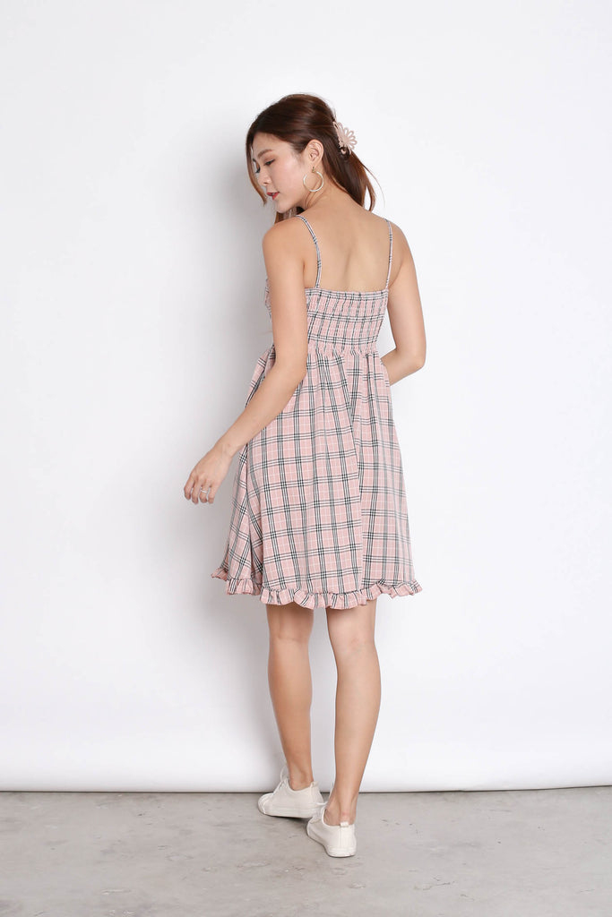 DANIELA GINGHAM DRESS IN DUSTY PINK - TOPAZETTE