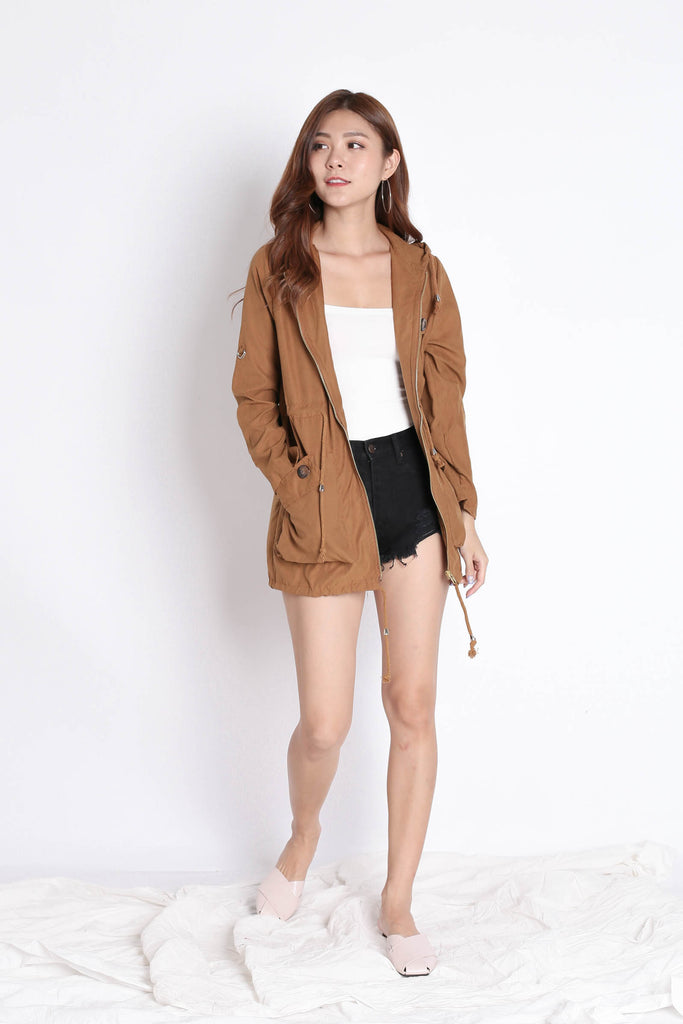 TAL PARKA WITH HOOD IN CAMEL - TOPAZETTE