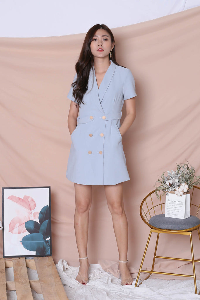 *TPZ* (PREMIUM) DIOR TRENCH BUTTON DRESS IN GREYISH BLUE - TOPAZETTE