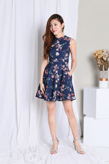 *PREMIUM* JIA FLORAL SKATER DRESS IN NAVY