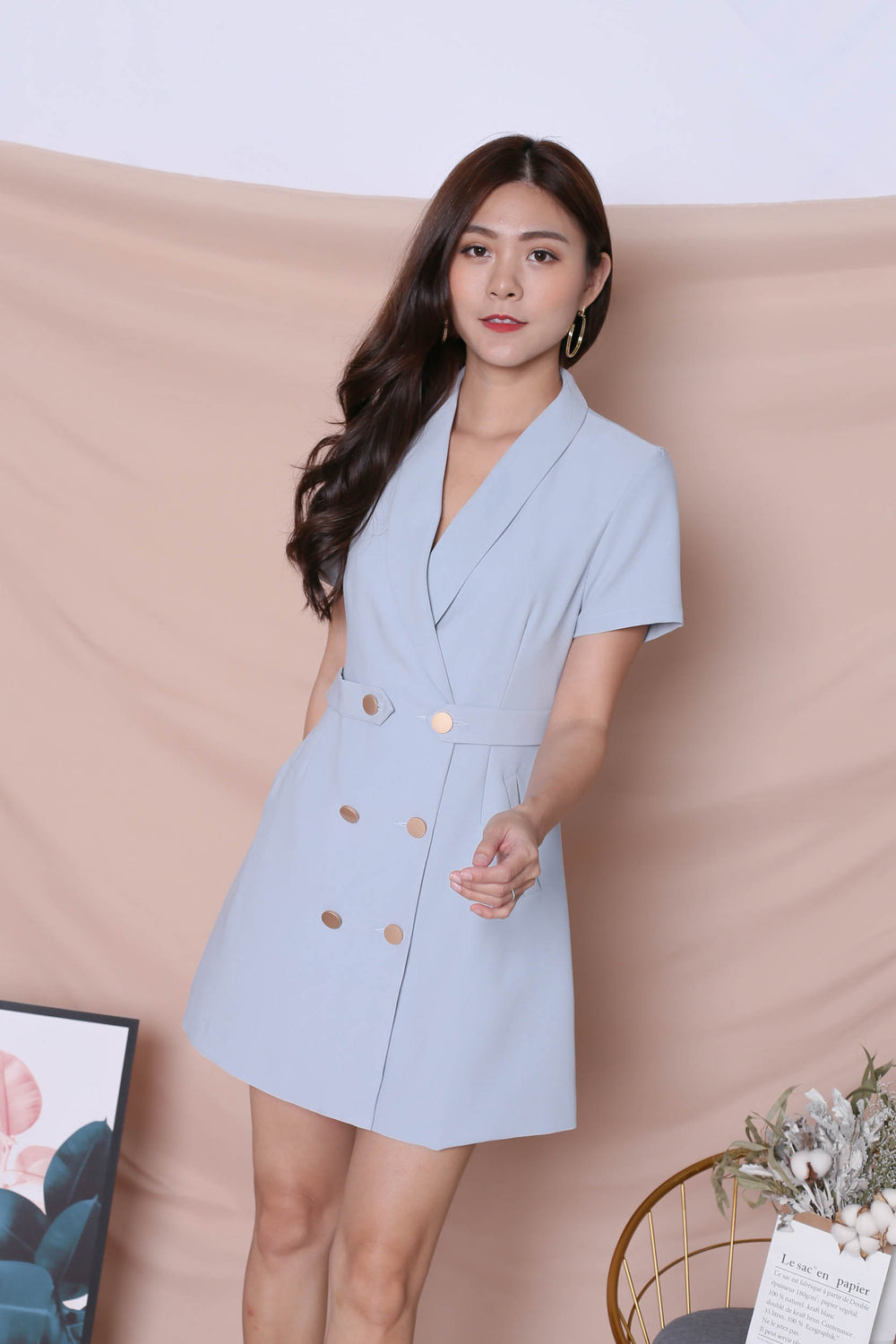 *TPZ* (PREMIUM) DIOR TRENCH BUTTON DRESS IN GREYISH BLUE