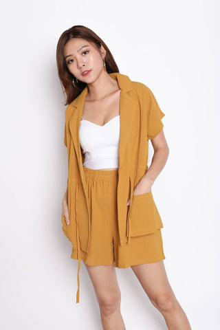 REV TRENCH TOP + SHORTS SET IN MUSTARD