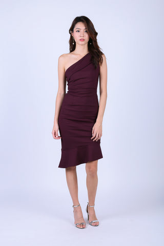 (BACKORDER) *TOPAZ* (PREMIUM) MERMAID TOGA DRESS IN PLUM