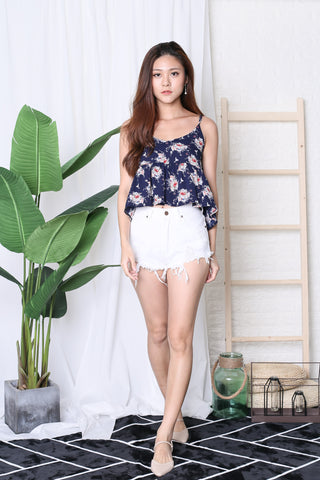 MELIA FLORAL BABYDOLL TOP IN NAVY