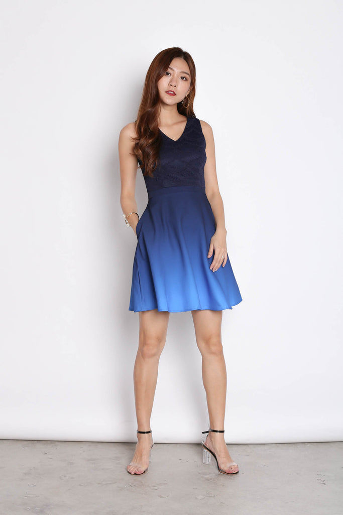 *TPZ* (PREMIUM) ATHENA LACE OMBRE SKATER DRESS (NAVY/ MIDNIGHT BLUE) - TOPAZETTE