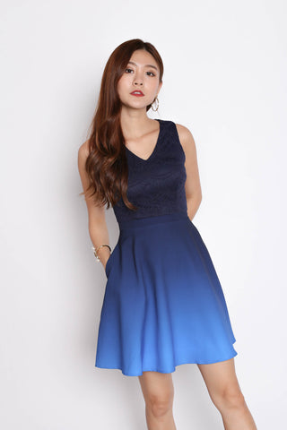 *TPZ* (PREMIUM) ATHENA LACE OMBRE SKATER DRESS (NAVY/ MIDNIGHT BLUE)