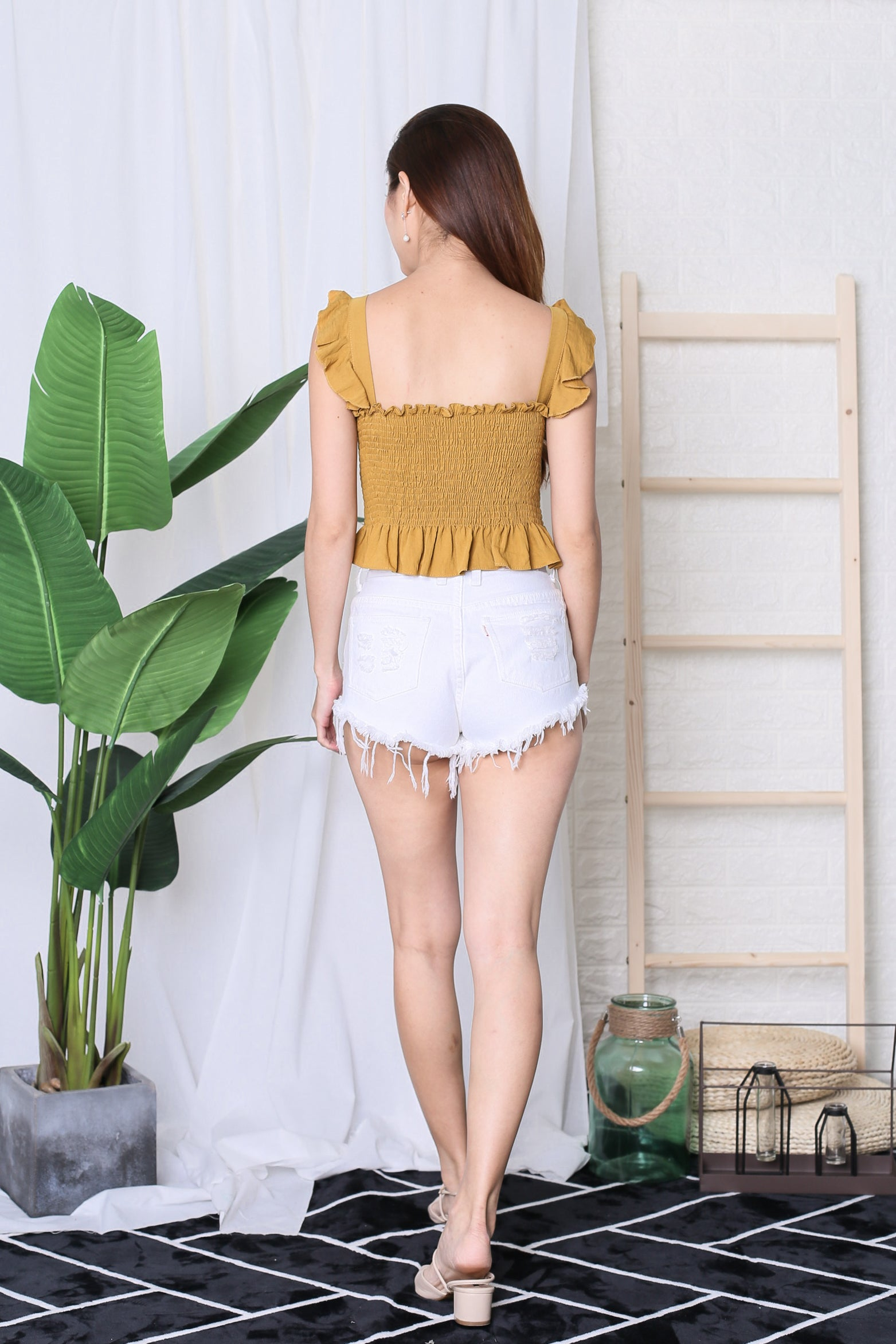 GRACIE RUFFLED TOP IN MUSTARD