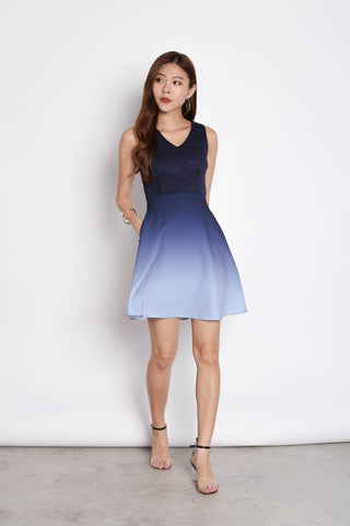 *TPZ* (PREMIUM) ATHENA LACE OMBRE SKATER DRESS (NAVY/ GREY)