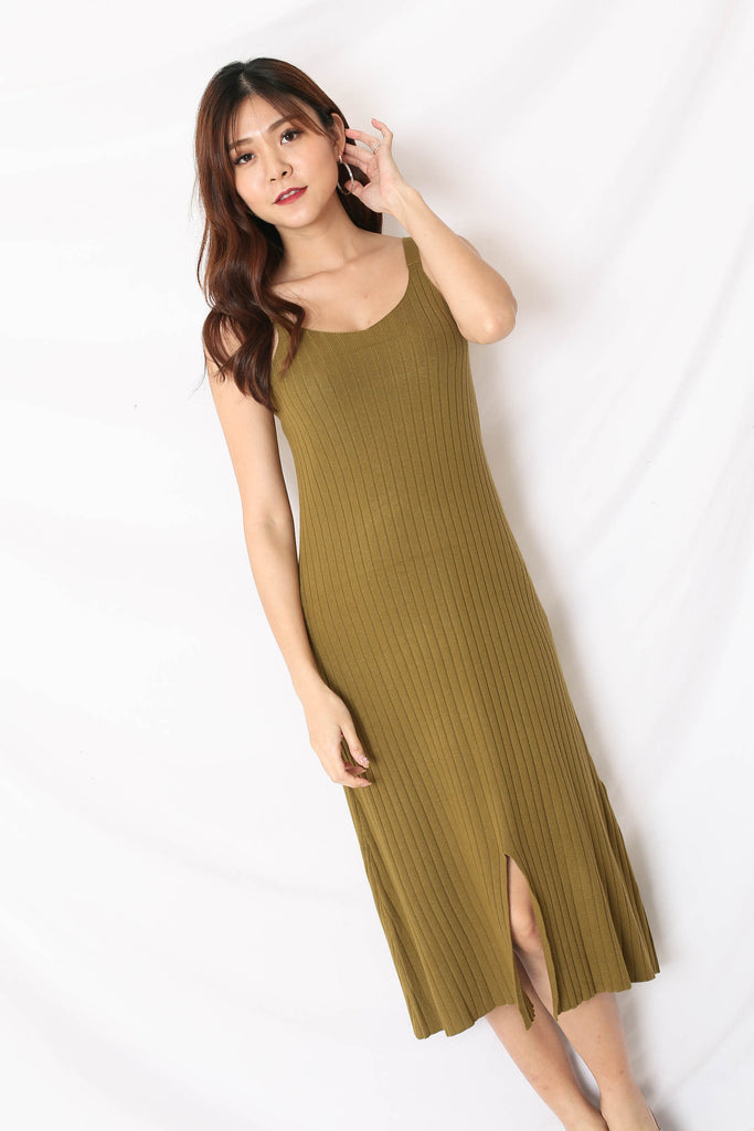 *BACKORDER* VALERIE KNIT DRESS IN OLIVE