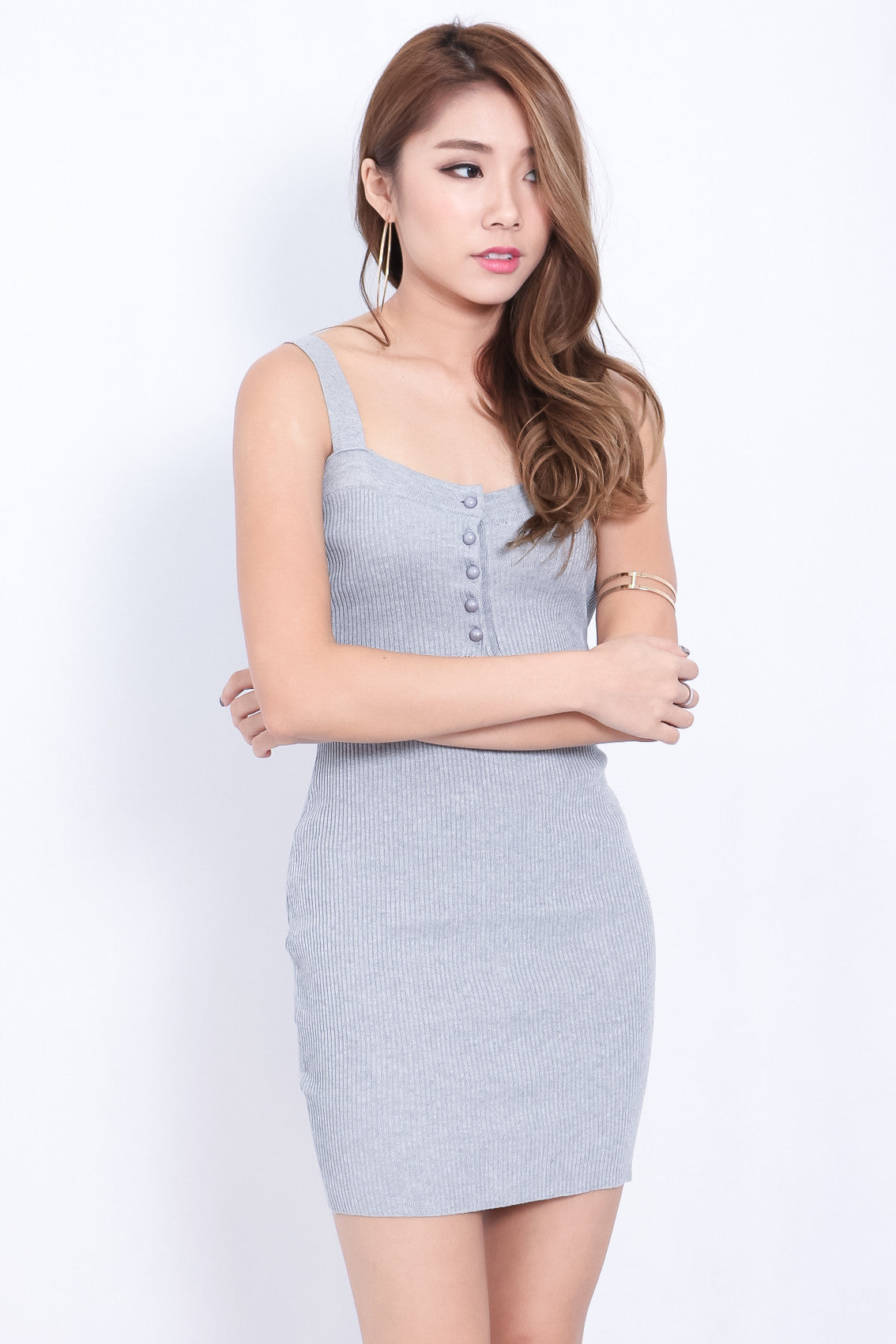 (RESTOCKED) BUTTONED KNIT DRESS IN GREY - TOPAZETTE