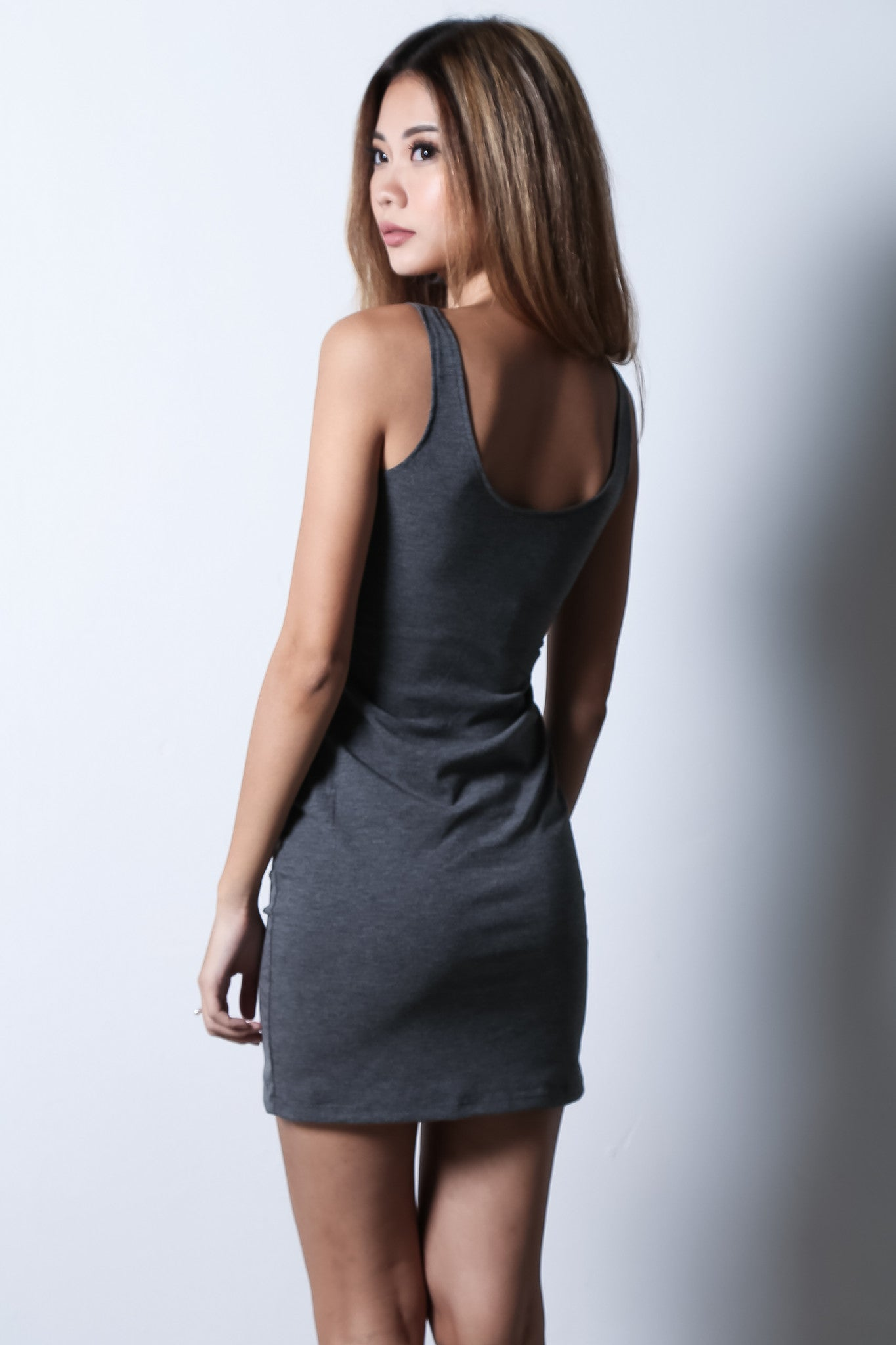 BUTTONED DOWN DRESS IN GREY - TOPAZETTE
