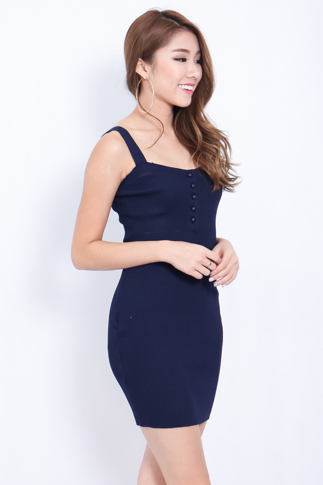 (RESTOCKED) BUTTONED KNIT DRESS IN NAVY - TOPAZETTE