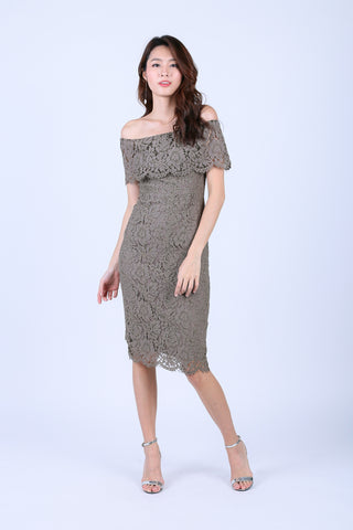 *TOPAZ* (PREMIUM) KATE LACE MIDI DRESS IN TAUPE