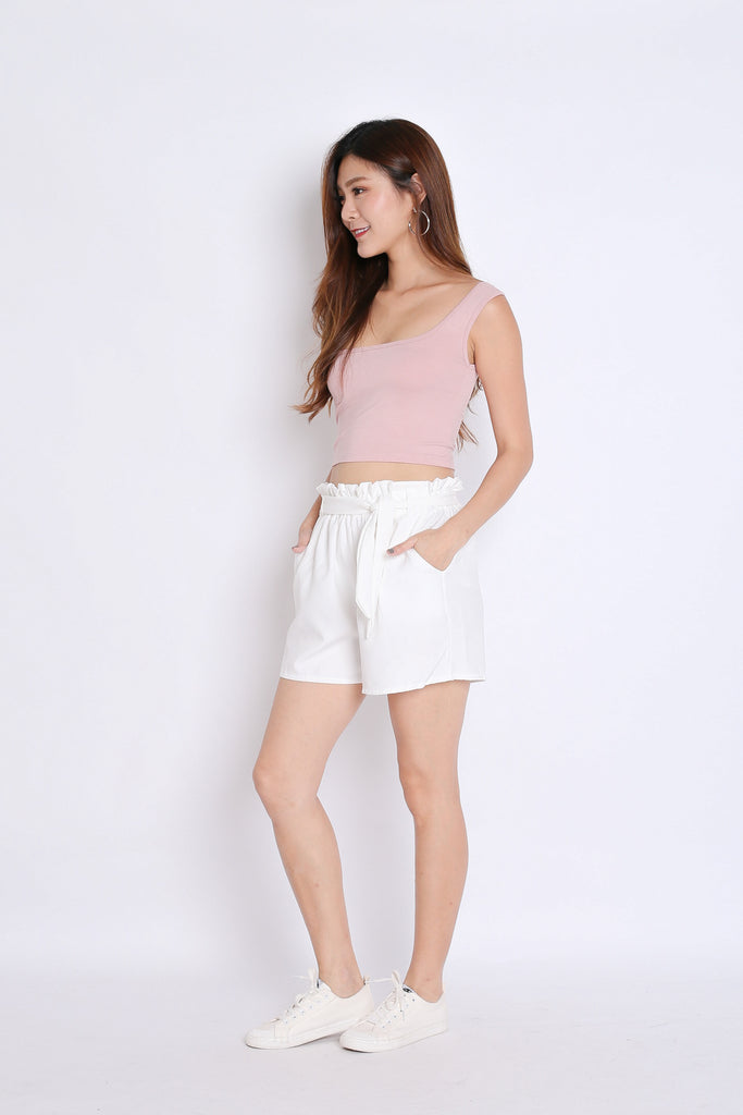 BASIC TOGA SQUARE CROP TOP IN DUSTY PINK - TOPAZETTE