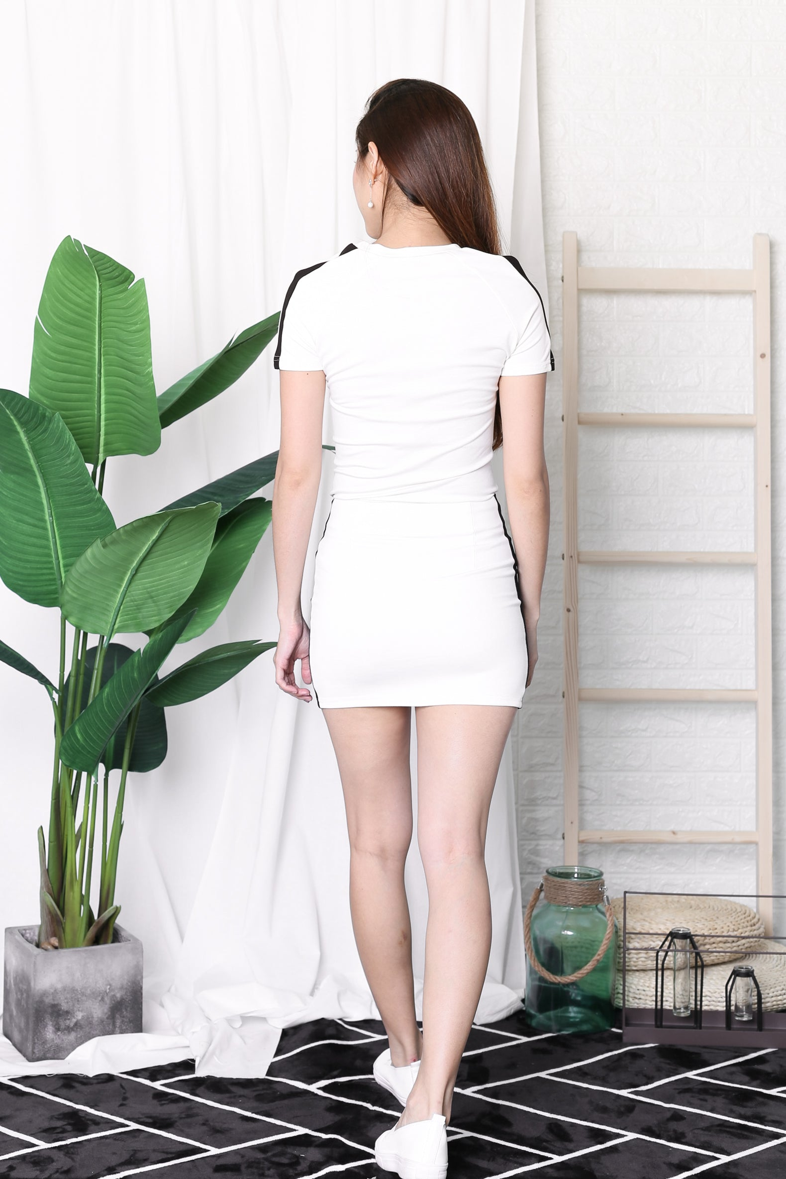 VARSITY 2 PC TOP + SKIRT SET IN WHITE