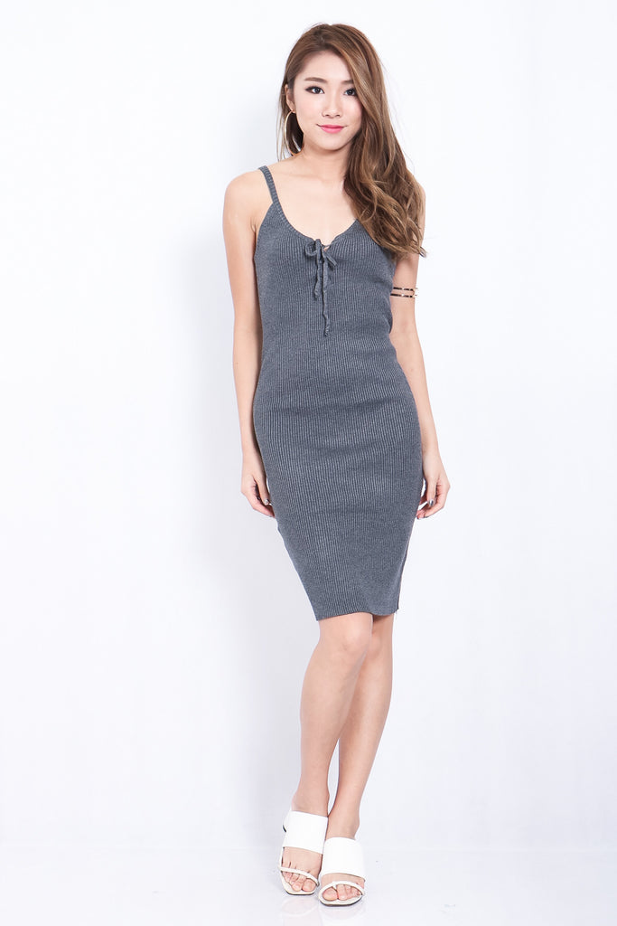 *RESTOCKED* LACED KNIT MIDI IN GREY - TOPAZETTE