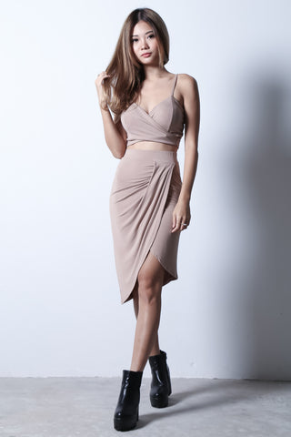afa158d844  BACKORDER  BY YOUR SIDE DRAPE SKIRT IN TAUPE - TOPAZETTE