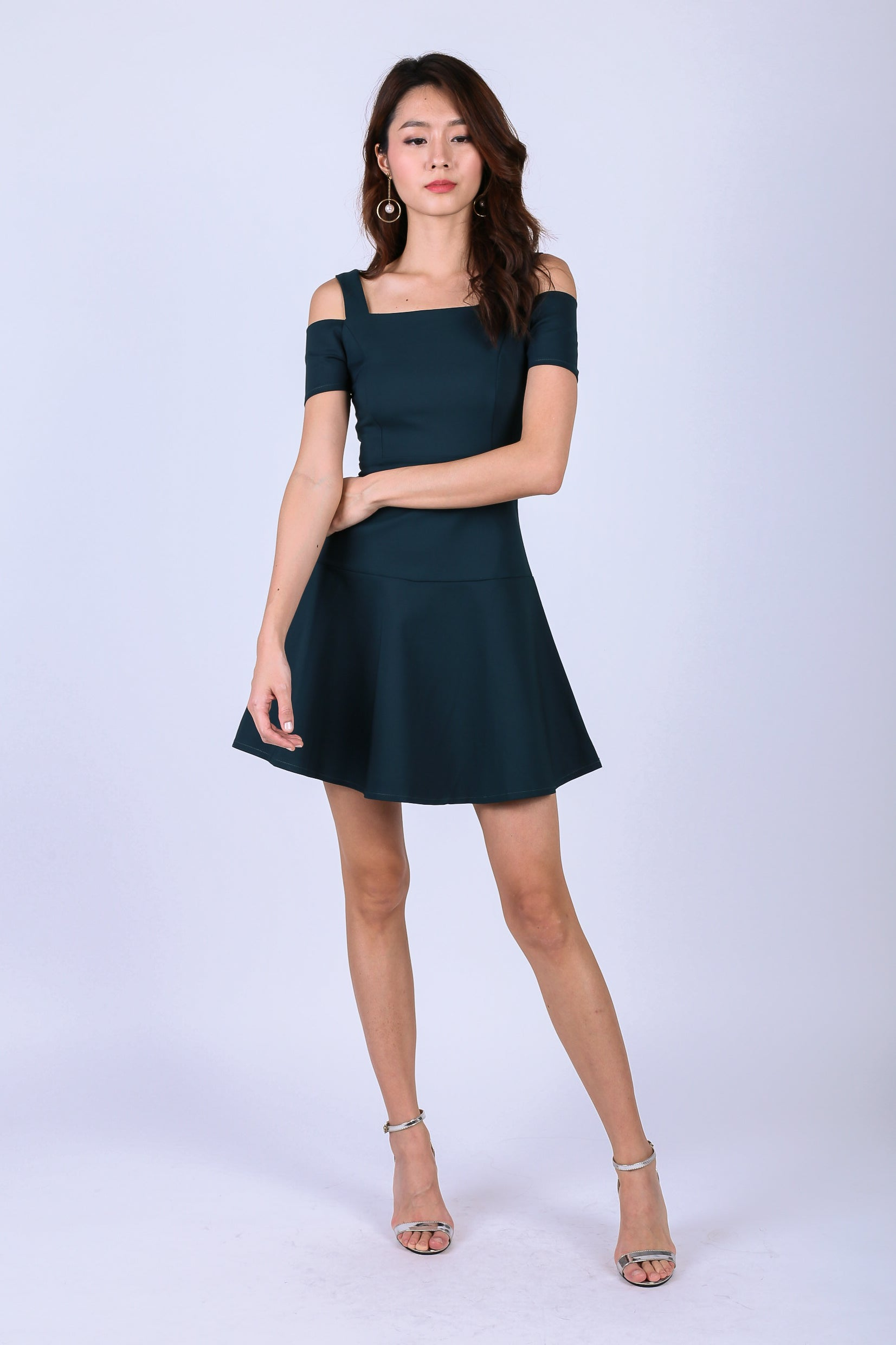*TOPAZ* (PREMIUM) ALDYS COLD SHOULDER SKATER DRESS IN FOREST GREEN