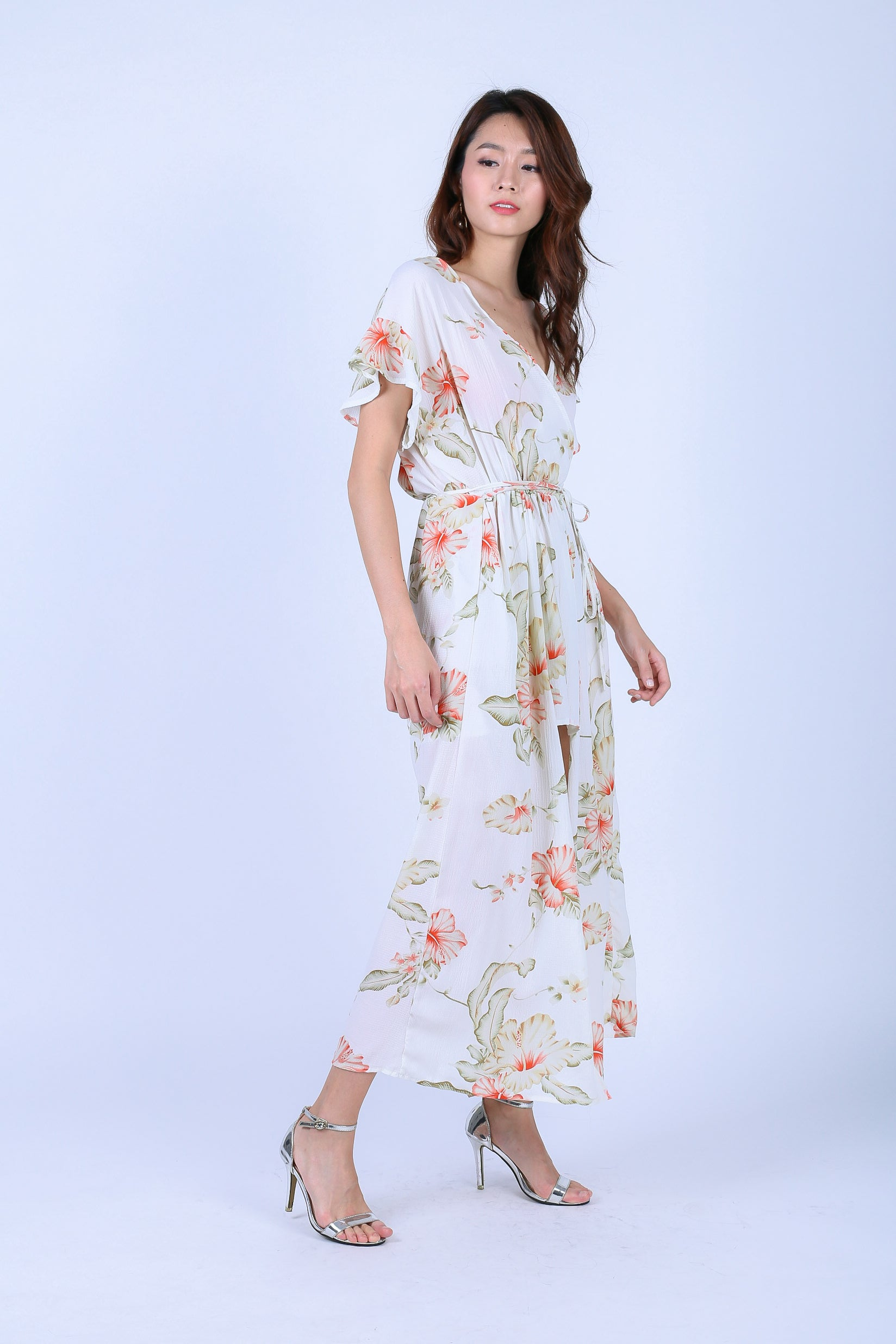 LIA FLORAL ROMPER MAXI IN OFF WHITE