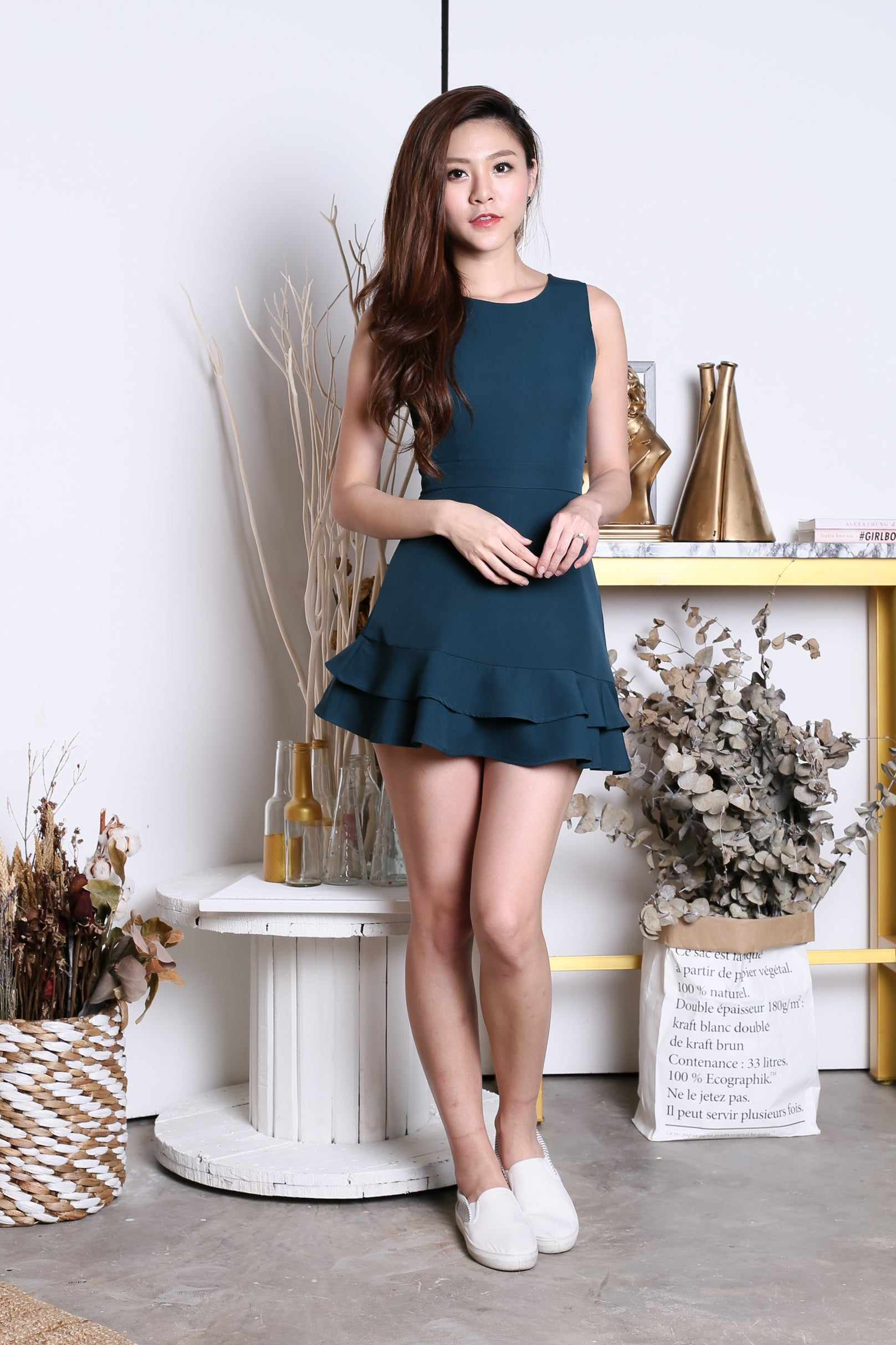 *TOPAZ* (PREMIUM) YEVA MERMAID DRESS ROMPER IN FOREST