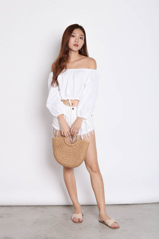OFF SHOULDER LINEN TOP IN WHITE