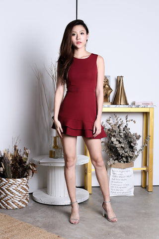 (BACKORDER) *TOPAZ* (PREMIUM) YEVA MERMAID DRESS ROMPER IN WINE