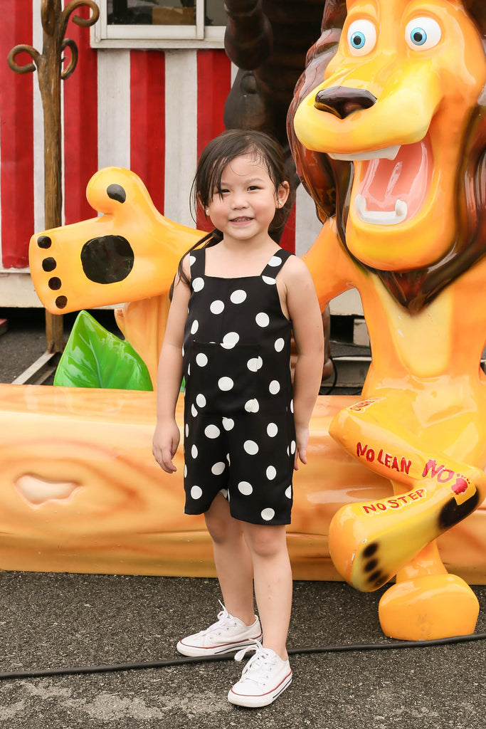 *LITTLE TOPAZETTE* POLKA DOT POCKET ROMPER IN BLACK - TOPAZETTE