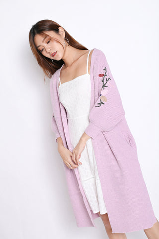 INNIS FLORAL EMBROIDERY CARDIGAN IN LILAC