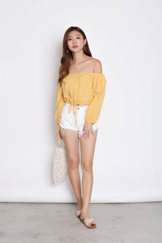 OFF SHOULDER LINEN TOP IN SUNSHINE