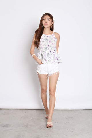 FLORAL BABYDOLL PEPLUM TOP IN WHITE/ LILAC