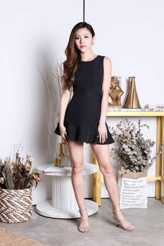 (BACKORDER) *TOPAZ* (PREMIUM) YEVA MERMAID DRESS ROMPER IN BLACK